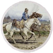 Buttero Riding In The Roman Campagna Round Beach Towel