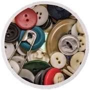 Buttons And Buttons Round Beach Towel