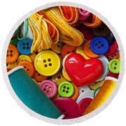 Buttons And Thread Round Beach Towel