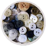 Buttons In Grunge Style Round Beach Towel