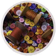 Buttons With Thread Round Beach Towel