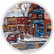 Buy Original Wilensky Montreal Paintings For Sale Achetez Petits Formats Scenes De Rue Street Scenes Round Beach Towel