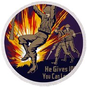 Buy War Stamps And Bonds Round Beach Towel