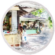 Buying Items In These Shops On The Street Round Beach Towel
