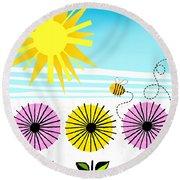Buzzy As A Bee Round Beach Towel