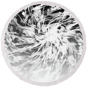 Bw Abstract Spiral Round Beach Towel