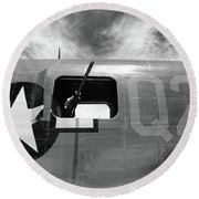 Bw Aircraft Gunner Window Round Beach Towel