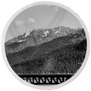 Bw Rail Alaska  Round Beach Towel