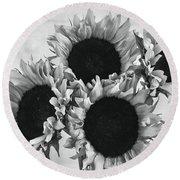 Bw Sunflowers #010 Round Beach Towel