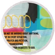 By Prayer And Petition- Contemporary Christian Art By Linda Wood Round Beach Towel