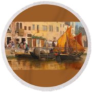 By The Canal Round Beach Towel