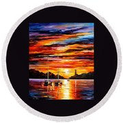 By The Entrance To The Harbor Round Beach Towel