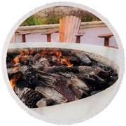 By The Fire Round Beach Towel