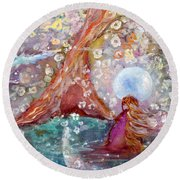 By The Light Of The Full Moon Round Beach Towel