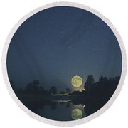 By The Light Of The Moons Round Beach Towel
