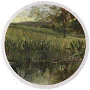 By The Riverbank, 1869 Round Beach Towel