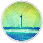 By The Sea - Cape May Lighthouse Round Beach Towel