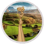 By The Sea 24 Round Beach Towel
