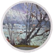 By Tonawanda Canal Round Beach Towel