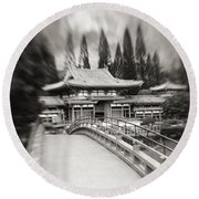 Byodo-in Temple Round Beach Towel