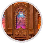 Byrd Theater Alcoves Round Beach Towel