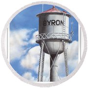 Byron Water Tower Poster Round Beach Towel
