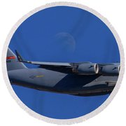 C-17 Globemaster IIi And The Moon Round Beach Towel