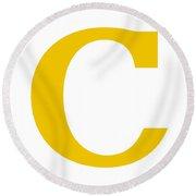 C In Mustard Typewriter Style Round Beach Towel