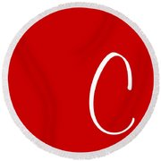 C In White Simple Script Round Beach Towel
