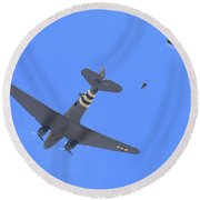 C47 And Paratroopers At Salinas Round Beach Towel