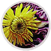 Cabbage And Mum Round Beach Towel