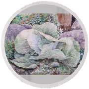 Cabbage Head Round Beach Towel