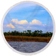 Cabbage Palms And Salt Marsh Grasses Of The Waccasassa Preserve Round Beach Towel