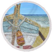 Cabbing Skiff  Round Beach Towel