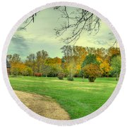 Cabin And Autumn Trees Round Beach Towel