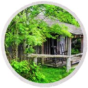 Cabin At The Top Mt Leconte Round Beach Towel