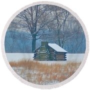 Cabin In The Snow - Valley Forge Round Beach Towel