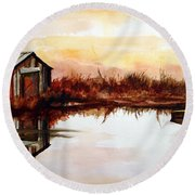 Cabin On The Lake Round Beach Towel