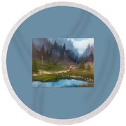 Cabin Retreat Round Beach Towel