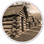 Cabins At Valley Forge In Sepia Round Beach Towel