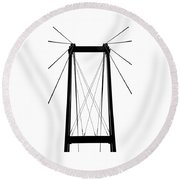 Cable Bridge Abstract Round Beach Towel