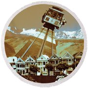 Cable Car Fly - San Francisco Collage Round Beach Towel
