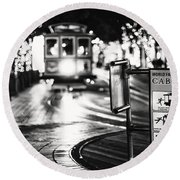 Cable Car Stop Blackout Round Beach Towel