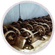 Cable Car Wheels, Repair Shop Round Beach Towel