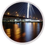 Cable-stayed Bridge Prins Clausbrug In Utrecht At Night 22 Round Beach Towel