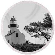 Cabrillo Lighthouse 3 Round Beach Towel