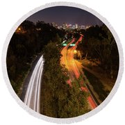 Cabrillo To Downtown Round Beach Towel