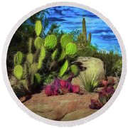 Cacti And Rock Round Beach Towel