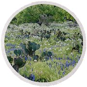 Cactus And Willow-wildflowers Of Texas Round Beach Towel