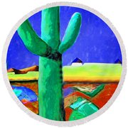 Cactus By Nixo Round Beach Towel